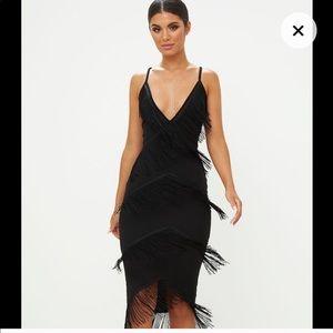 Pretty little thing tassel plunge midi dress